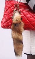 wholesale and retail Genuine  Red Fox Fur Tail Keychain  Free Shipping KC035