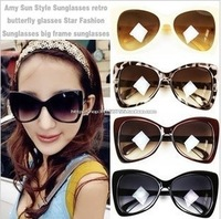 Fashion vintage sunglasses oversized black-rimmed cat-eye sunglasses adele Women sunglasses