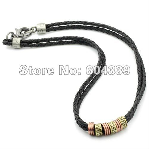 Free Shipping Mens Metal Rings Surfer Leather Rope Necklace Chain LP101(Hong Kong)