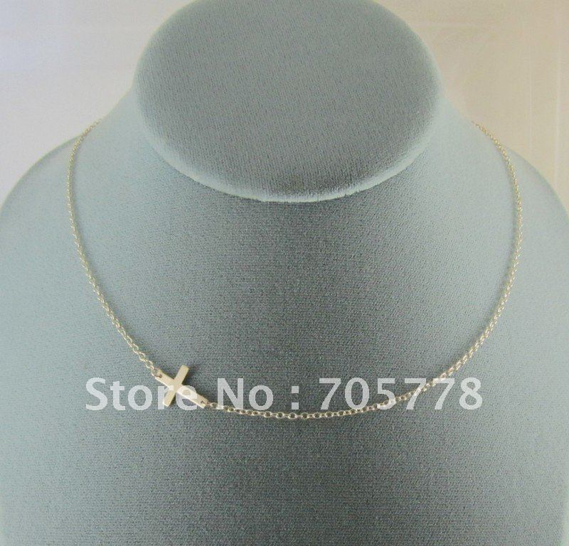 NEW RARE Horizontal Sideways Gold Silver Cross Celebrity Pendant Necklace(China (Mainland))
