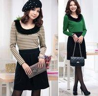 2012 spring mm plus size clothing stripe o-neck ol long-sleeve dress