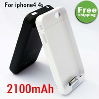 2100mAh External Backup Battery Charger Protective Case Cover For iPhone 4 4G 4S