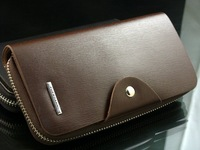 Кошелек 2014 fashion Mens genuine cow Leather long Wallet Pockets rfid Card Clutch Cente Bifold Purse, coffee, WBL8