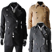 Free shipping 2012 new Men's Coat Winter fashion Style Double-breasted coat Woolen Blends Camel coat Gray 3 size M, L, XL 3491