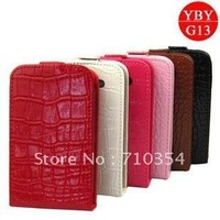 Free shipping CROCO LEATHER case flip pouch cover protective shell skin for HTC G13  Wildfire S