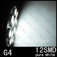 100pcs/lot G4 12 SMD LED Pure White Car Light Bulb Lamp RV Camper Bright Light DC 12V New wholesale free shipping