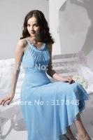 Elegant design inexpensive pretty light blue scoop neck a line chiffon summer cool little party dresses ED303