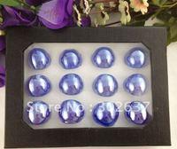 12PCS Quality Lampwork Polish Blue Glass Rings #21812