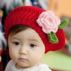 Fashion baby beret, woolen yard child hat, warm kid cap, knitting flower beret, crochet baby cap, handmade hat, Free shipping(China (Mainland))