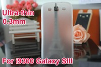 ulrra-thin 0.3mm Crystal Clear Hard Case Back Cover For Samsung Galaxy S 3 i9300, Free Shipping 50pcs