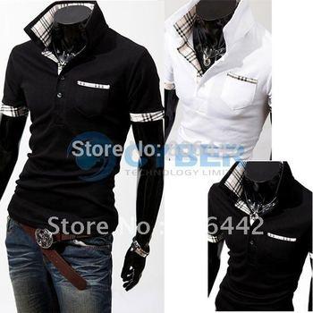 Casual Stylish Coat Slim Short Sleeve Jacket Fit Checked Men's Polo T-Shirts Tee Tops