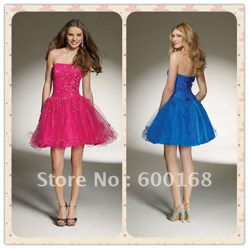Dress for homecoming strapless scoop neck beads & flowers organza attractive sexy informal cocktail dress ED-B070(China (Mainland))
