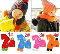 Free shipping 100%wool  Smiling face hat scarf two piece set baby cap infant hat cute style santa/christmas/x'mas