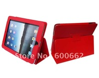 Free Drop shipping support - Red color Leather Stand Case for iPad 1 / Leather Cover for iPad 1 with retail package