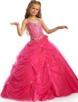 Christmas Pink Halter Flower Girl Dress Girl Skirt Princess Skirt Party Skirt Pageant Skirt Custom SZ 2 4 6 8 10 12 14 JL713021