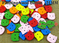 90pcs Hello Kitty painting wood cartoons cloth sewing button jewelry findings CRAFTS charms WCB-051