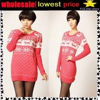 50%discount!!collar knitwear,weave sweater, women clothes, christmas women lovely deer long sweater (NXL-012-2)
