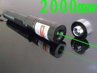 3000mw 2000mw  2 in 1  Green laser pointer + Gypsophila laser head   flashlight / burning laser torch BURN matches free ship