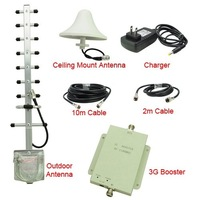 DHL Quality UMTS 2100MHz 3G RF Repater Mobile Phone Signal Booster Amplifer Kit with Ceiling Mount 5dBi Omni Directional Antenna