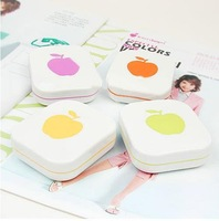 wholesale  2Pcs/ lot  Apple Contact Lenses Box  Cute Cartoon  Eyewear Cases & Bags Glasses