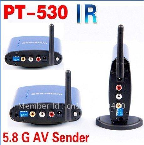 Cheapest!!! 5.8G AV Sender Wireless Transmitter Receiver 200meters 1 sender 2 receivers PAT530(China (Mainland))