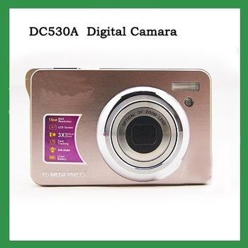 "New cheap camera DC530A MAX.15MP 2.7"" TFT LCD digital camera SILVER+ 8GB SD Card"