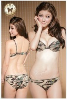 Women fashion underewear brief push up magic sexy camouflage brassiere bra set bras panty suit ,wholesales and retails