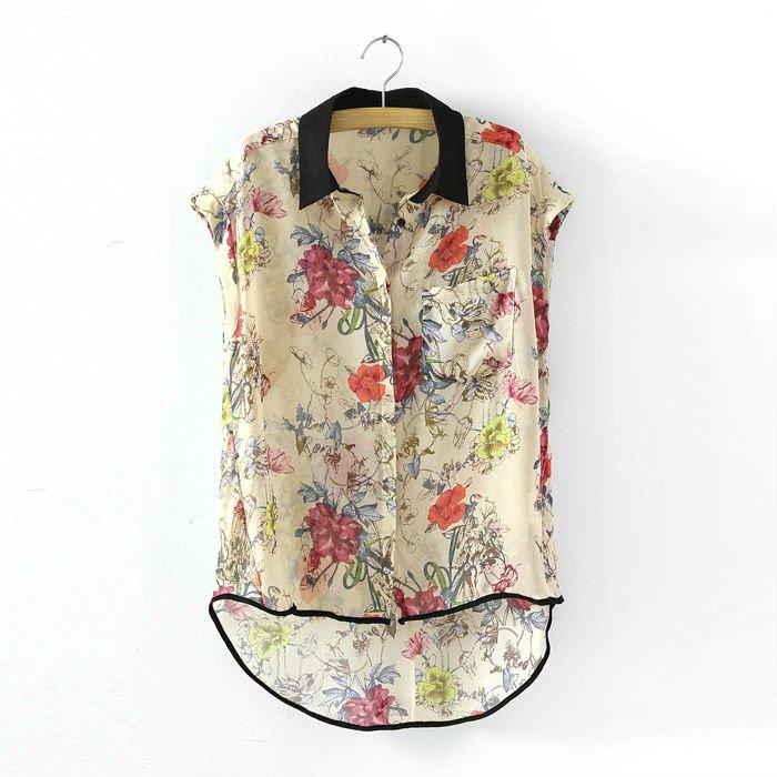 Шифоновая Блузка С Цветочным Принтом
