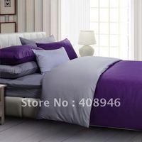 120215 free shipping wholesale- 40s 100% Sateen cotton Purple + gray color luxury bedding set / 4pcs duvet cover/bed linen