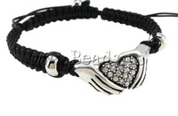 Free Shipping Fashion Shamballa Bracelet, wax cord with rhinestone zinc alloy beads, hand with heart shape design 2013 gift