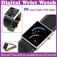 29 LED Blue&Red Light Digital Date Lady Men Wrist Watch_Free Shipping