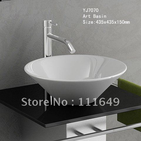 7070 bathroom ceramic small counter top wash hand bowl for Bathroom wash basin with cabinet