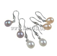 Free Shipping Freshwater Pearl Brass Earring, rhinestone brass hook & pearl earring drop, mixed color, 36Pair/Box, Sold by Box