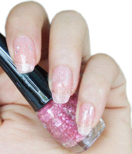 Pink colorful big yashali nail polish oil sparkling diamond pink nail polish oil