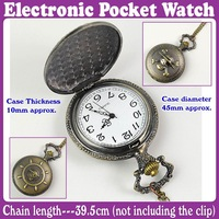 3pcs/Lot_Steampunk Bronze Engraved Carribean Pirate Electronic Pocket Watch_Free Shipping