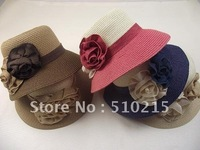 2012 Classic straw hat with two beautiful flowers,sold by pack,10pcs/pack