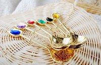 6 pcs/lot Super mini 12.6cm/4.96 inch gold spoons colorful gemstone ice cream spoon color random