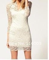 Spring lace 3/4 sleele v-neck dress hot selling