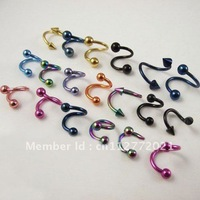 100pcs/lot 16G mixed color stainless steel eyebrow ring body piercing jewelry jewellery