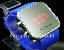 12 Colors+ Free shipping silicone LED Mirror WATCH wholesale 12pcs/lot(China (Mainland))