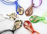 Promotion !! Wholesale  Mixed Colour   Murano Glass pendant  necklace  Leaf  shape Coloured Glaze Pendant  6pcs/lot  BS009