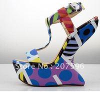 hot sale* !!!brand high heel shoes Women's shoes sheepskin snake color Wedges sandals