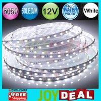 5M/500cm/16.4ft per LOT! DC12V 72W Non-Wateproof 5050SMD 60LED/M 300LEDs White Color Flexible LED Strip Light