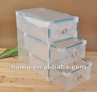 Free shipping 2012 hot sell plastic clear shoes storage  box drawer type   5pcs/lot  transparent color