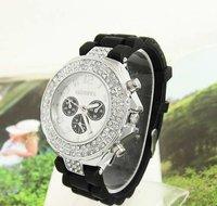 Holiday sale Wholesale Black Silicone Watch GENEVA Fashion Women Sports Crystal quartz wrist Watch ladies wristwatches Gv002-7