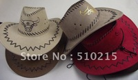 2012 New Fashion the western United States leather cowboy hat with oxhead,4 color to choose,sold by pack,10pcs/pack