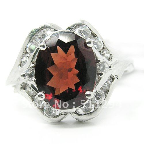 Oval Cut 2.4ct Natural Garnet 925 Sterling Sliver Ring(China (Mainland))