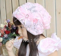 Free Shipping Lace flowers baby cap, Fashion children's hats, Seasons cap, pink / purple OPP bag  30pcs/lot