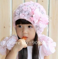 Free Shipping Lace flowers baby cap, Fashion children's hats, Seasons cap, pink / purple OPP bag