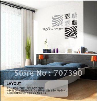 FREE SHIPPING 110*110cm Home stickers Wall decor Art Decals Vinyl Murals Applique Zebra a76